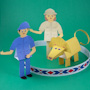 3D Paper Circus Lion and Lion Tamer