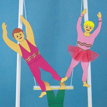 Make a 3D Circus Trapeze Act 3D Paper Crafts Aunt Annies Crafts