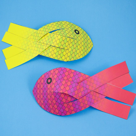 paper fish with scales in two colors
