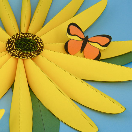 Make paper sunflowers 3d paper crafts aunt annies crafts sunflower with leaves and butterfly mightylinksfo