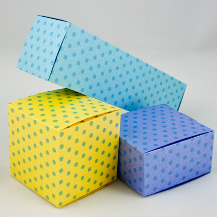collapsible square boxes made with printable patterns