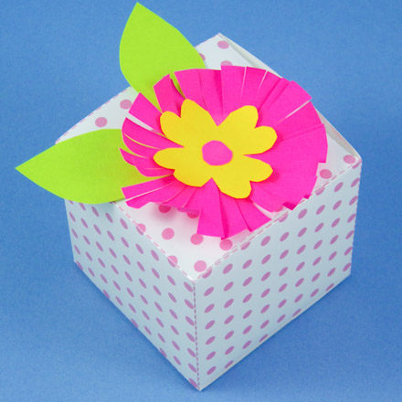 Cube Box With Paper Flower