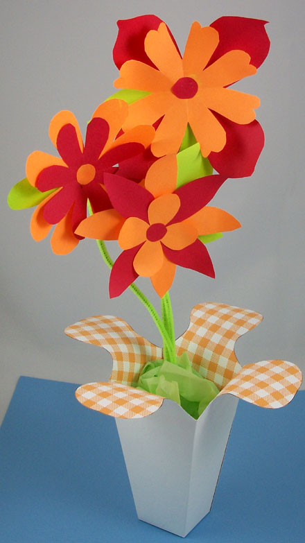 Flared Box Used As A Vase For Paper Flowers