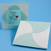 Example enclosure card and petal envelope made from 2-ply handmade paper