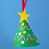 Mini-tree ornament made from a cone of green paper