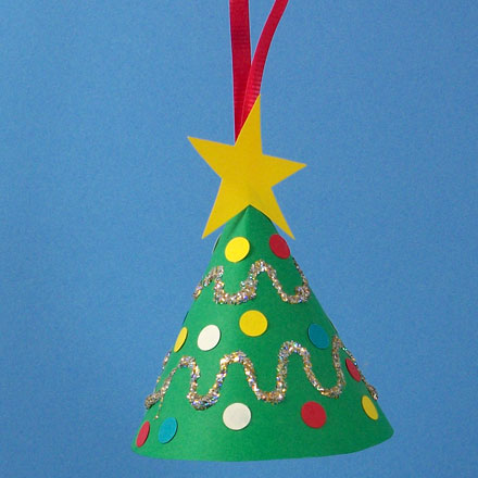 Miniature Christmas Tree Ornament Decorated With Paper Punches Glitter And Ribbon