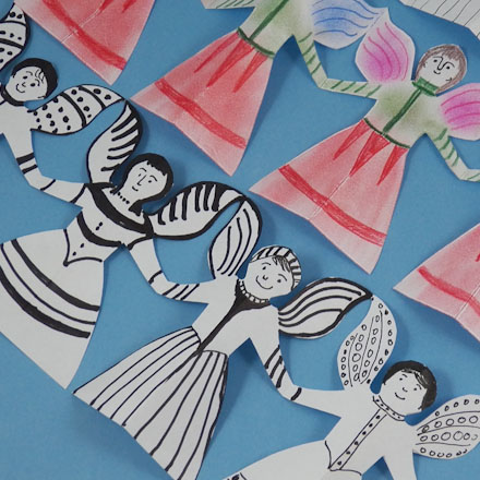 See how to make paper angel chains