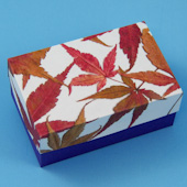 Decoupaged box with fall leaves