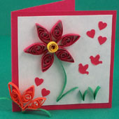 Gift card decorated with quilling
