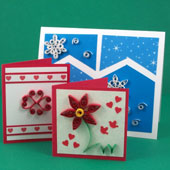 Greeting card and gift cards decorated with quilling