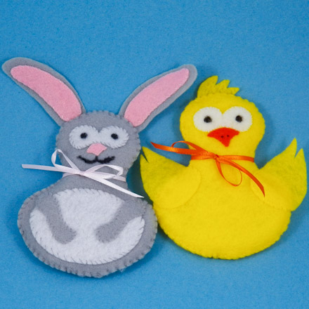 Make Stuffed Felt Animals Bunny And Chick Easter And Spring