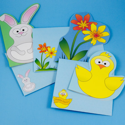 bunny chick and flower envelope patterns fun shaped cards for