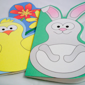 Fun Shaped Cards for Easter and spring - chick, bunny and flowers