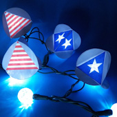 Stars and stripes tetrahedron used as string light covers