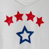 T-shirt stenciled with stars