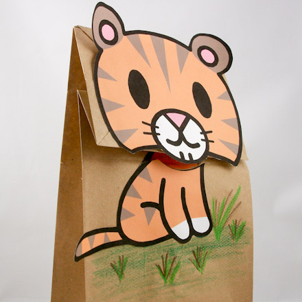 tiger puppet template - easy to make clip art bag puppets friday fun craft