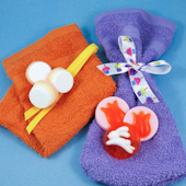 Bath bags made with washcloths