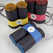 Three colors of binoculars