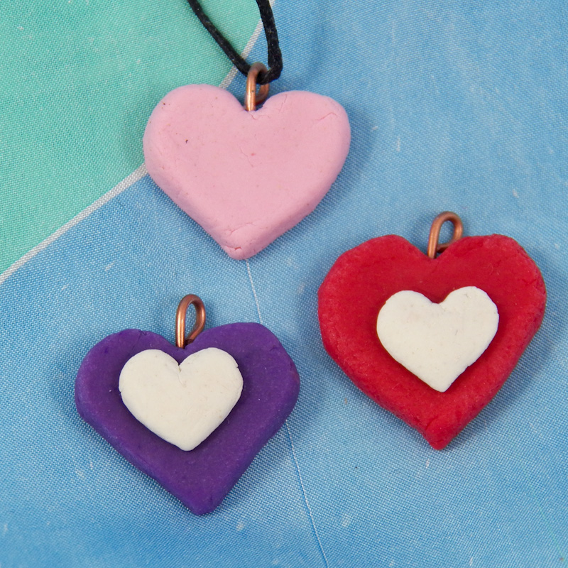 Make homemade clay charms and pendants friday fun craft projects 1 heart charm sample heart charms aloadofball Image collections