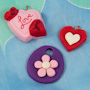 Heart and flower charms and pendants