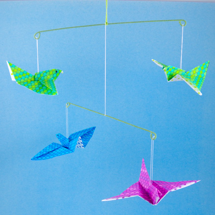 Floral Wire Mobile With Origami Flying Birds