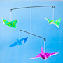 Origami Flying Bird Mobile using floral wire