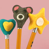 Pencil toppers made using homemade modeling dough
