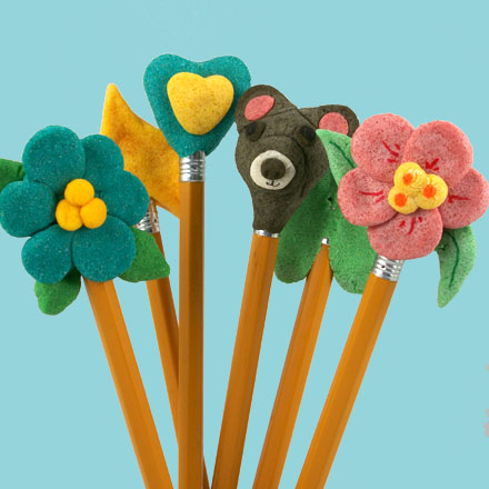 make modeling dough pencil toppers   friday fun craft