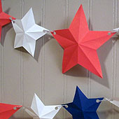 Star garland with red, white and blue five-pointed stars