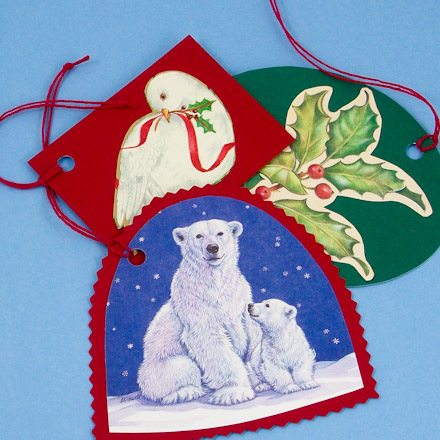 Make gift tags from recycled cards christmas crafts aunt annies gift tags with images from old greeting cards m4hsunfo