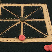 Black felt Achi game board