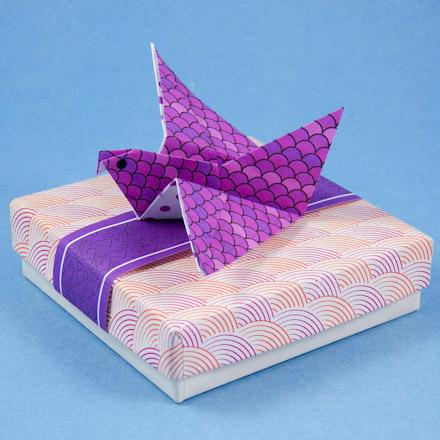 Origami Flying Bird On Gift Box