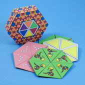 Hexagonal box sized to store hexaflexagons