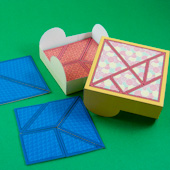 Tangram box with tangram puzzles