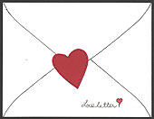 Love letter card with applique heart