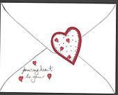 Love letter card with layerd applique heart