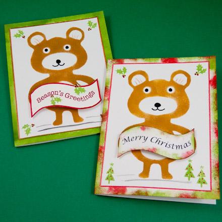 Make a stenciled bear christmas card greeting card ideas aunt example christmas bear cards m4hsunfo