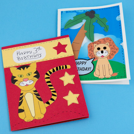 Make Lion and Tiger Birthday Cards for Kids Greeting Card Ideas – Kids Birthday Cards to Make