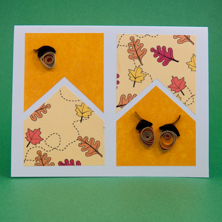 Example of  a Four-Patch card made with Fall and Thanksgiving ePaper