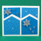 Four-patch card with snowflake quilling