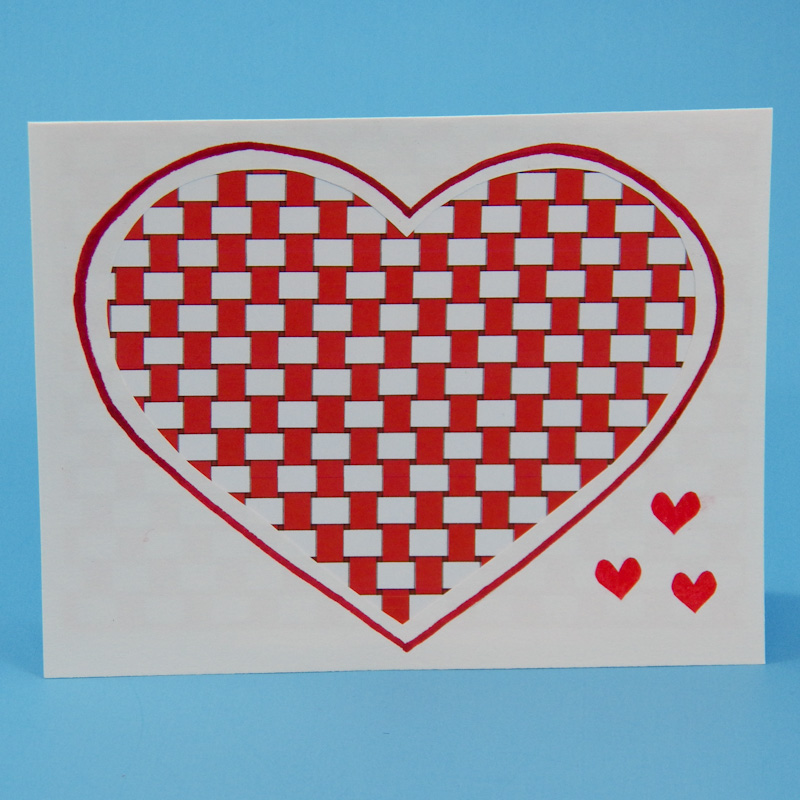 How to make woven heart valentines greeting card ideas aunt plain weave heart m4hsunfo