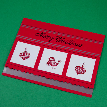Sample Christmas card with silver ribbon