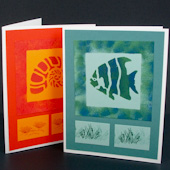 Stenciled and sponged greeting cards