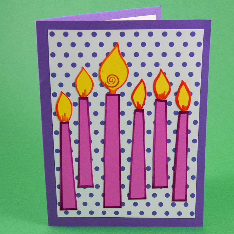Outline Candles And Glue To Card Front