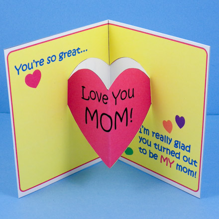 Mother S Day Card With Heart Pop Up