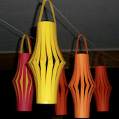 Chinese paper lanterns in orange, red and yellow