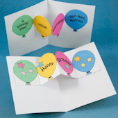 Balloon pop-ups in birthday card or party invitation