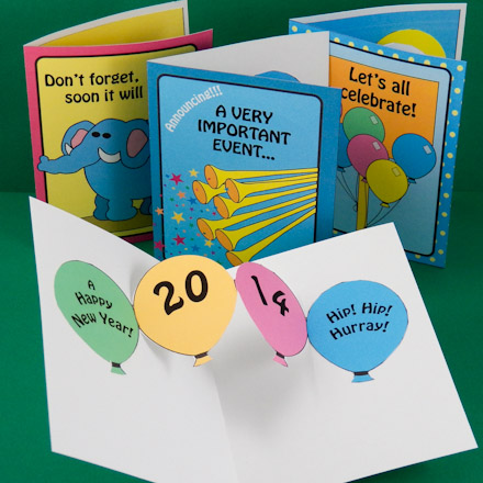 examples of new year pop up cards