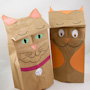 Cat and Owl Paper Bag Puppets