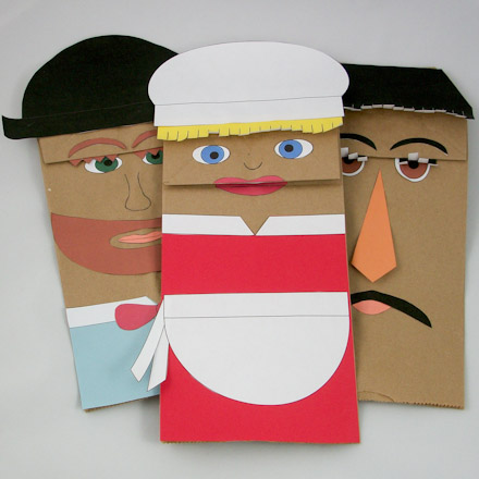 Paper Bag Puppets For Clever Gretel Play